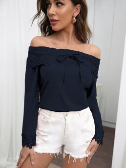 Women's Long Sleeve Top Knot Polyester off Shoulder Lace Detail Top