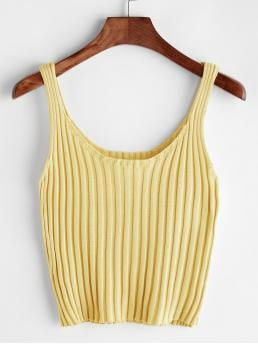 Casual Plain Slim Fit Scoop Neck Yellow and Pastel Crop Length Ribbed Tank Top