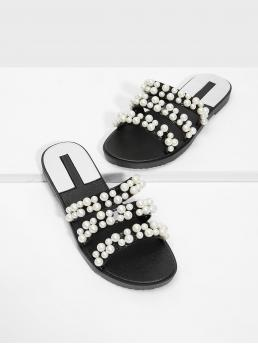 Slides Open Toe Black and White Faux Pearl Decorated Flat Sandals