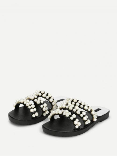 Sale Mesh Black and White Regular Asymmetrical Faux Pearl Decorated Flat Sandals