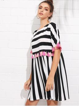 Cute Smock Striped Loose Round Neck Half Sleeve High Waist Black and White Short Length Fringe Trim Striped Dress