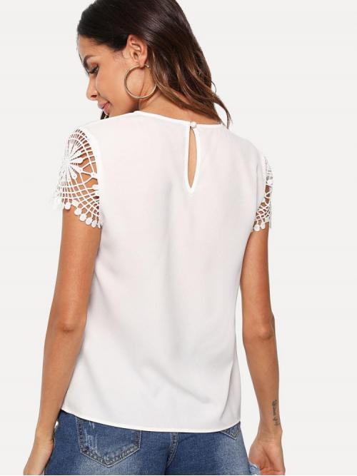 Cap Sleeve Top Cut out Mesh Keyhole Neck Guipure Lace Sleeve Top Trending now