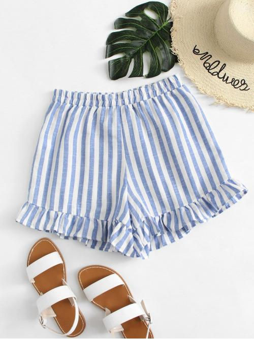 Blue Natural Waist Ruffle Hem Wide Leg Shorts Trending now