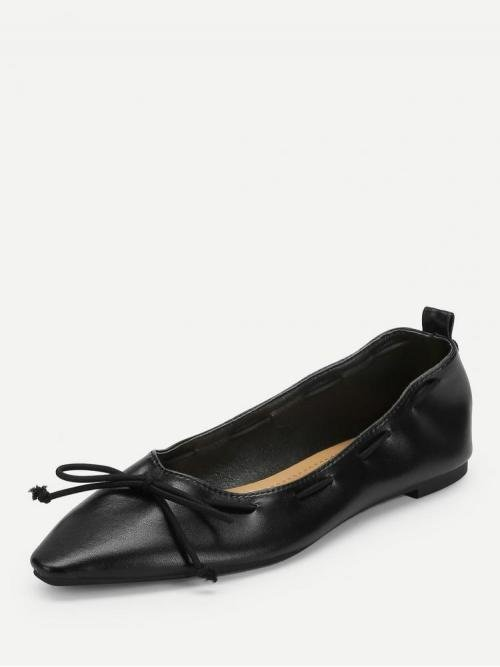 Corduroy Black Mules Bow Tie Flats on Sale