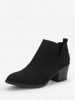 Other Almond Toe No zipper Black Mid Heel Chunky V Cut Design Faux Suede Western Ankle Boots