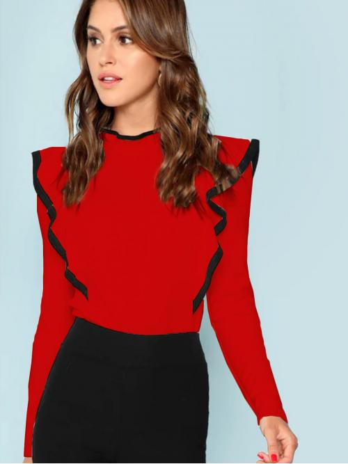 Shopping Long Sleeve Button Red Stand Collar Contrast Trim Keyhole Ruffle Tee