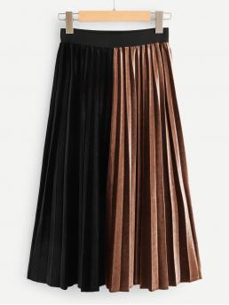 Shopping Multicolor Natural Waist Pleated Pleated Skirt
