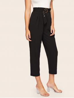 Elegant Plain Tapered/Carrot Regular Zipper Fly High Waist Black Cropped Length Buckle Belted Solid Tapered Pants with Belt