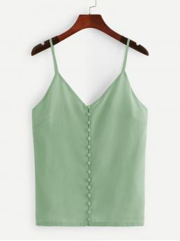 Casual Cami Plain Regular Fit Spaghetti Strap Green and Pastel Regular Length Solid Button Detail Chiffon Cami Top