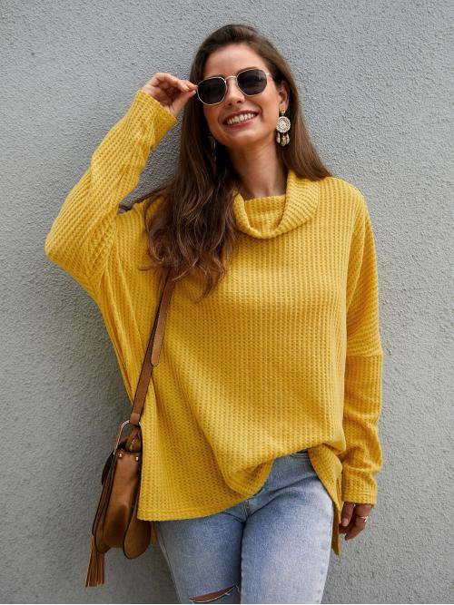 Casual Plain Oversized Cowl Neck Long Sleeve Pullovers Yellow Longline Length Cowl Neck Slit Hem Solid Tee