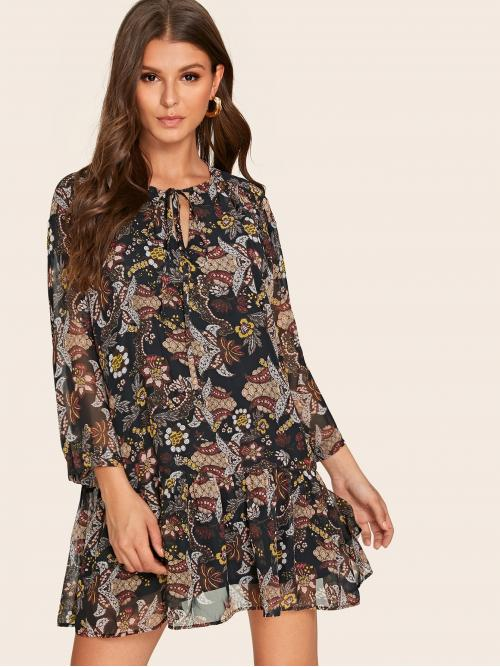 Casual Smock All Over Print Flounce Regular Fit Long Sleeve Drop Waist Multicolor Short Length Tie Neck Allover Paisley Print Ruffle Hem Dress with Lining