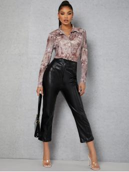 Sale Long Sleeve Shirt Button Front Mesh Collared Buttoned Front Blouse