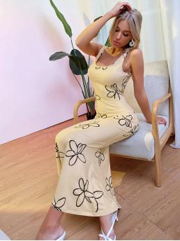 Trending now Apricot Floral Backless Scoop Neck Dress
