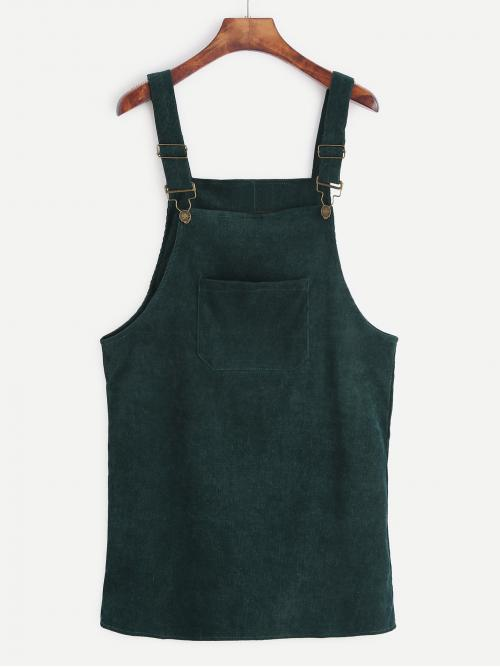 Preppy Pinafore Plain Straight Loose Straps Sleeveless Green Short Length Front Pocket Corduroy Overall Dress