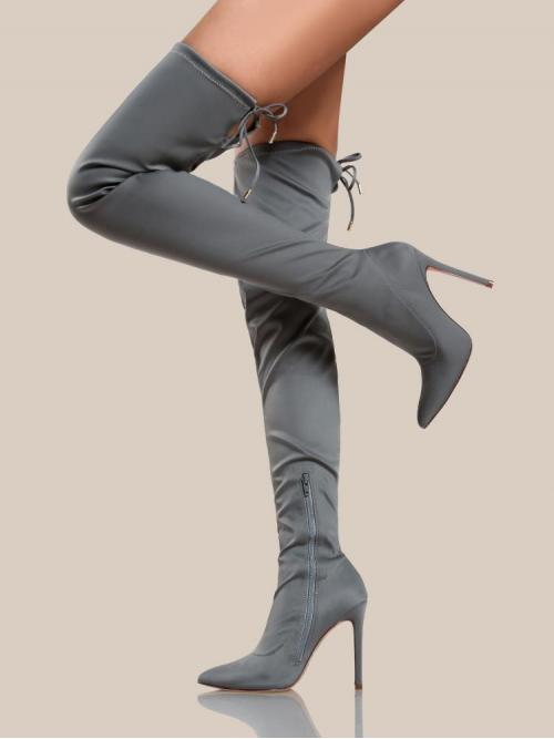 Pretty Polyester Grey Stretch Boots Embroidery Solid Thigh High Boots