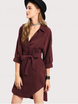 Burgundy Plain Belted Collar Curved Hem Shirt Dress Ladies