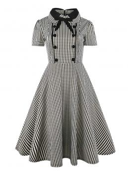 Vintage Fit and Flare Gingham Ball Gown Regular Fit Stand Collar and Tie Neck Short Sleeve Natural Black and White Midi Length Button Front Bow Tie Neck Gingham Shirt Dress