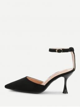 Elegant Point Toe Ankle Strap Black High Heel Stiletto Suede Pointed Toe Mary Jane Heels