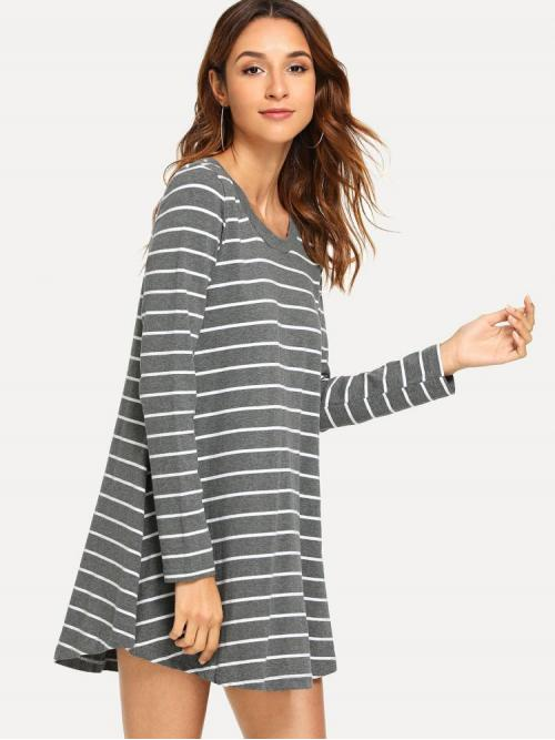 Womens Grey Plain Button Round Neck Striped Swing T-shirt Dress