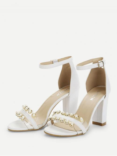 Corduroy White Court Pumps Pearls Faux Pearl Two Part Block Heeled Sandals Shopping