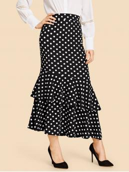 Elegant Layered/Tiered Polka Dot Mid Waist Black Long/Full Length Ruffle Hem Dot Print Skirt