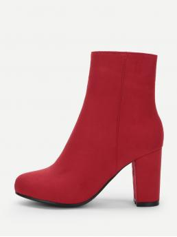 Other Round Toe Plain Side zipper Red High Heel Chunky Plain Side Zipper Boots