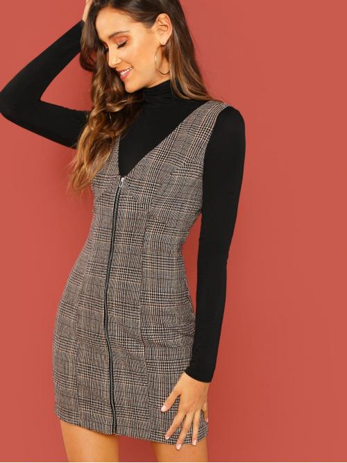 Multicolor Plaid Zipper Deep V Neck Zip up Glen Overall Dress Cheap