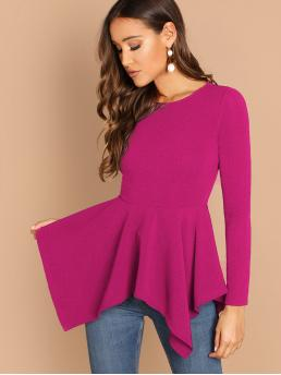 Elegant Plain Asymmetrical Peplum Slim Fit Round Neck Long Sleeve Regular Sleeve Pullovers Pink and Bright Regular Length Hanky Hem Peplum Top