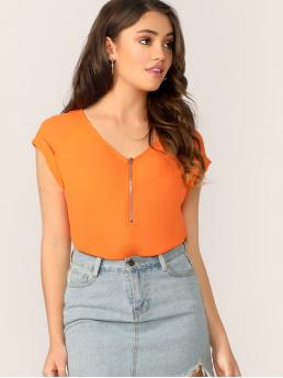 Casual Plain Top Regular Fit V neck Cap Sleeve Roll Up Sleeve Half Placket Orange and Bright Regular Length Half Zip Front Cuffed Sleeve Solid Blouse