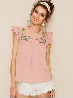 Cute Top Regular Fit Notched Sleeveless Butterfly Sleeve Pullovers Pink Regular Length Notch Neck Embroidery Frill Smock Blouse
