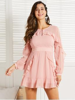 Elegant A Line Plain Flounce Regular Fit Keyhole Neckline Long Sleeve Regular Sleeve High Waist Pink and Pastel Short Length SBetro Keyhole Neck Ruffle Trim Dress with Lining