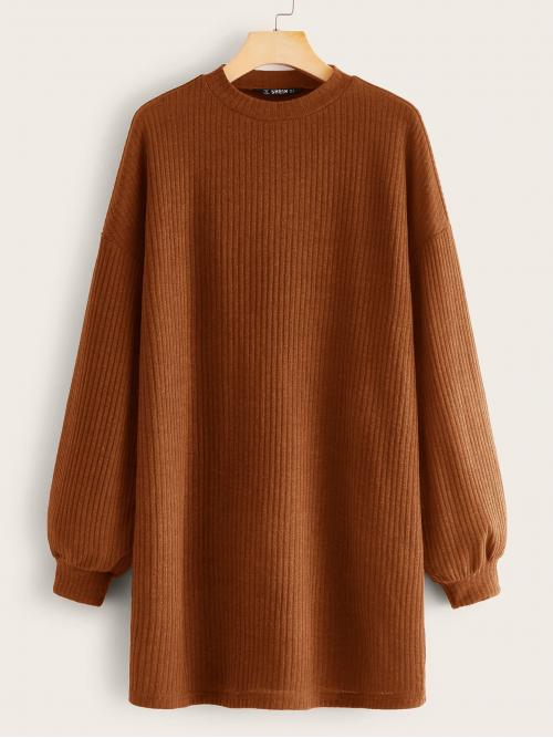 Casual Tee Plain Straight Regular Fit Round Neck Long Sleeve Bishop Sleeve Natural Brown Short Length Drop Shoulder Tee Dress