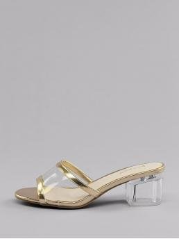 Business Casual Peep Toe Plain Gold Mid Heel Chunky Metallic Trim PVC Band Lucite Block Heel Mules