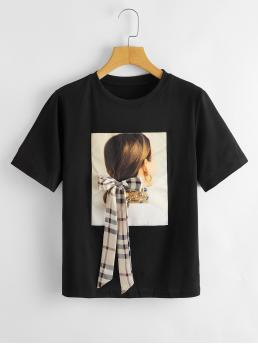 Clearance Short Sleeve Bow Front Cotton Plaid Figure Graphic Tee