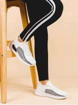 Chunky Trainers Round Toe Striped White Flat Colorblock Lace-up Front Knit Sneakers