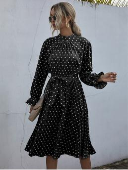 Cheap Black Polka Dot Plicated Stand Collar Frill Neck Dress