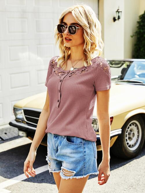 Beautiful Short Sleeve Button Front Polyester Plain Guipure Lace Panel Waffle Tee