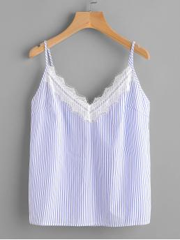 Casual Cami Striped Regular Fit Spaghetti Strap and V neck Blue Eyelash Lace Trim Striped Cami Top