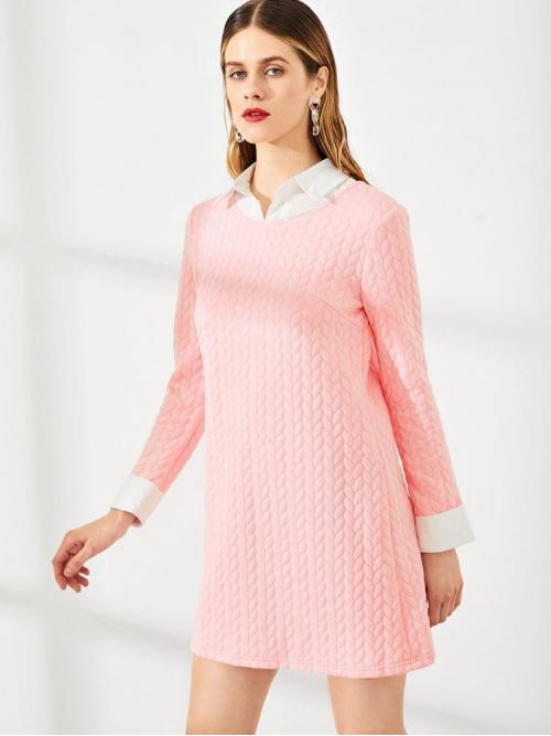 Beautiful Pink Plain Contrast Collar Collar Cable 2 in 1 Mini Dress