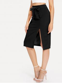 Black Natural Waist Split Slit Tie Waist Pencil Skirt on Sale