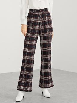 Casual Flare Leg Regular Mid Waist Multicolor Long Length Single Button Plaid Flare Pants