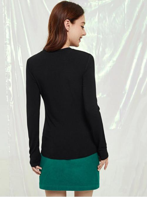 Women's Long Sleeve Skinny Cut out Sequins Geo Solid Tee