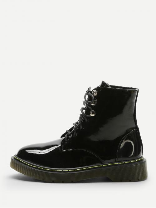 Polyester Black Combat Boots Cut out Lace up Boots Sale