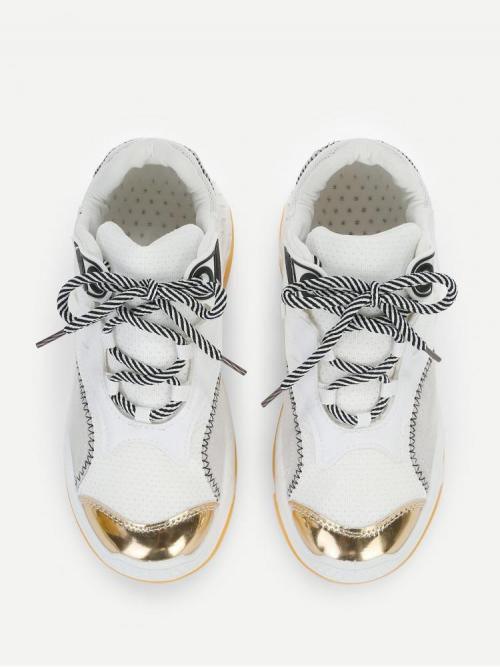 Satin White Chunky Trainers Knot Stitching Chunky Sneakers Sale