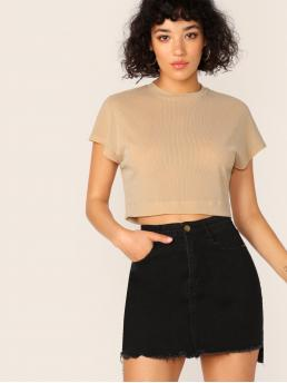 Casual Plain Regular Fit Round Neck Cap Sleeve Pullovers Khaki Crop Length Cap Sleeve Glitter Crop Tee