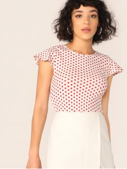Casual Polka Dot Slim Fit Round Neck Cap Sleeve Pullovers Multicolor Regular Length Polka Dot Butterfly Sleeve Top
