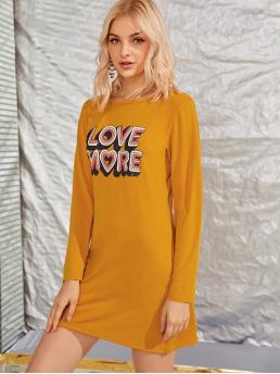 Casual Tee Letter Regular Fit Round Neck Long Sleeve Regular Sleeve Natural Yellow Short Length Letter Graphic Long Sleeve Tee Dress