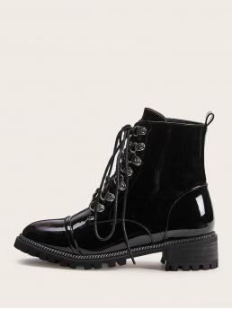 Comfort Lace-up Boots Round Toe No zipper Black Lace-up Front Patent Combat Boots