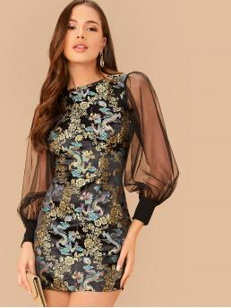 Glamorous Fitted Floral and Animal Pencil Regular Fit Round Neck Long Sleeve Bishop Sleeve Natural Multicolor Short Length Mesh Lantern Sleeve Dragon and Floral Jacquard Dress