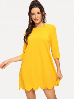 Yellow Plain Scallop Round Neck Edge Solid Trapeze Dress Beautiful